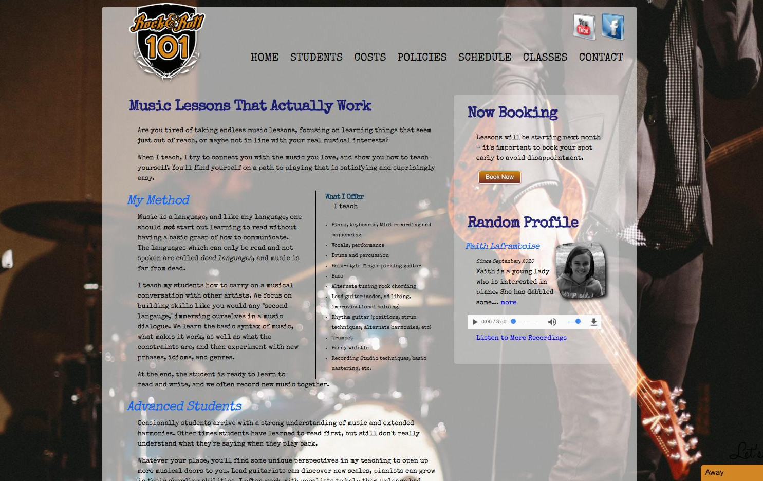 RockAndRoll101.ca - Music Teacher Web Site with Logging, Reporting, Invoicing, and Scheduling